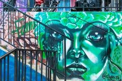 Сторона ` s женщины в зеленых настенных росписях в районе 13 в Medelli Стоковые Изображения