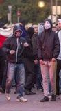 Сторонники партии работника сталкиваются с полицией в Остраве Стоковое Изображение RF