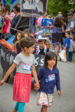 Сторонники Bernie на VT 4-ом Уоррена парада в июле стоковое изображение rf