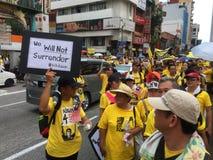 Сторонники Bersih демонстрируют в Малайзии Стоковая Фотография