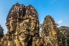 Стороны в виске Bayon, Камбодже стоковые фотографии rf