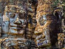 Стороны в виске Bayon, Angkor Thom Стоковое Изображение RF