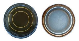 Изолированная зеленая крышка металла обе стороны Стоковые Изображения