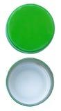 Изолированная зеленая крышка бутылки металла обе стороны Стоковое фото RF