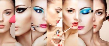 Стороны коллажа красоты женщин Стоковые Изображения RF