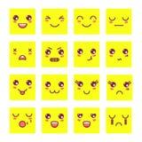 Стороны Kawaii милые, смайлики Kawaii, прелестные значки характеров конструируют иллюстрация вектора