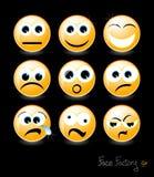 Стороны Smiley на черной предпосылке Стоковые Изображения RF