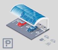 стоянка автомобилей автомобиля электрическая иллюстрация штока