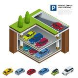 стоянка автомобилей гаража подземная Крытая автостоянка Городское обслуживание автостоянки автомобиля Плоская равновеликая иллюст Стоковое Изображение