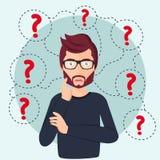 Стоять молодого человека думая под вопросительными знаками Человек окруженный концепцией вопросительных знаков Плоская иллюстраци иллюстрация штока