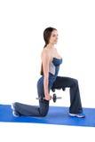Стоящая разминка Разделени-сидения на корточках гантели стоковые фотографии rf