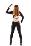 Стоящая сексуальная женщина держа щетку волос Стоковая Фотография