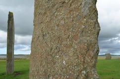 Стоящие камни Stenness, неолитические мегалиты в острове материка оркнейских остров, Шотландии Стоковые Фото