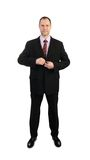 Стоящий бизнесмен в костюме изолированном на белизне стоковое изображение rf