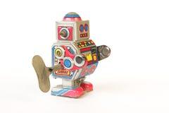 стоящий винтажный робот олова, взгляд со стороны с ключом Стоковое Изображение