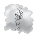 Стоящий один чертеж шаржа астронавта Стоковое Изображение