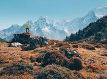 Стоящий человек на камне против снежных гор Стоковые Изображения RF