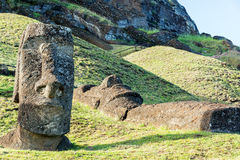 Стоя и лежа статуи Moai Стоковые Фотографии RF