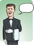 Стоя усмехаясь кельнер в перчатках с воздушным шаром речи бесплатная иллюстрация