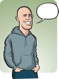 Стоя усмехаясь облыселый молодой человек с воздушным шаром речи бесплатная иллюстрация