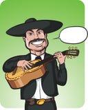 Стоя усмехаясь поя mariachi с воздушным шаром речи иллюстрация штока