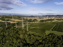 Столба металла вида с воздуха продукция плодоовощ plaantage дерева ландшафта зеленого цвета взгляд сверху башни высоковольтного в Стоковые Изображения