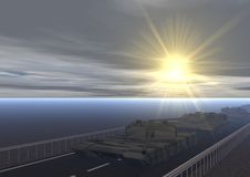 Столбец танков t 2 (Солнце) Стоковые Изображения