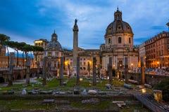 Столбец Traian и Santa Maria di Loreto Стоковые Изображения
