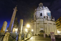 Столбец Trajan и церковь, Рим Стоковое Изображение RF