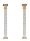2 столбца в классическом архитектурном стиле изолированного на белой предпосылке Стоковая Фотография RF