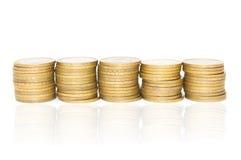 5 столбцов монеток Стоковая Фотография RF