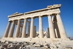 Столбцы виска Парфенона в акрополе Афин Стоковая Фотография