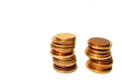Столбцы монетки евро Стоковые Изображения RF