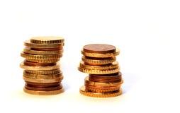 Столбцы монетки евро Стоковое Изображение RF