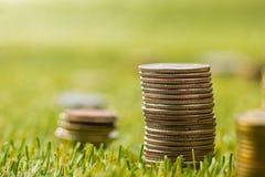 Столбцы монеток на траве Стоковое Изображение