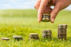 Столбцы монеток на траве Стоковое Фото