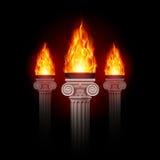 Столбцы с огнем Стоковое Изображение