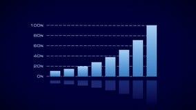 Столбчатая диаграмма запаса - синь на темноте иллюстрация вектора