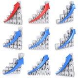 столбчатая диаграмма зубов 3d с голубой стрелкой Стоковая Фотография RF