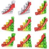 столбчатая диаграмма зубов 3d с красной стрелкой Стоковое Изображение