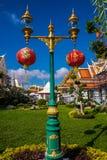 Столб лампы с китайскими фонариками Стоковое Изображение RF