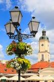 Столб лампы с корзиной цветка стоковое изображение rf
