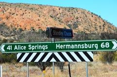 Столб знака Alice Springs Стоковая Фотография