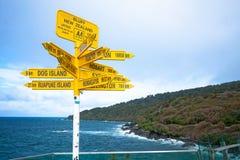 Столб знаков в Новой Зеландии Стоковая Фотография