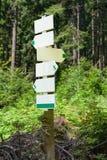 Столб перекрестка знака направления леса следа Стоковая Фотография