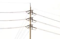 столб электричества на белой предпосылке Стоковые Фото