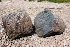 Столетний камень, вода Derwent, (национальное доверие) Стоковые Изображения RF