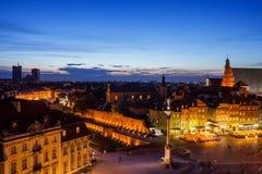 Столица Варшавы городского пейзажа сумерк Польши Стоковое Фото