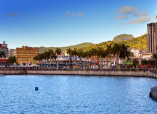 Столица Порт Луи ландшафта Mauritius.Sea тропического в солнечном дне Стоковые Фотографии RF