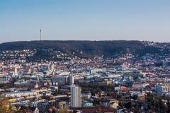 Столица Baden Wuerttemberg Da ландшафта городского пейзажа Штутгарта Стоковые Фотографии RF
